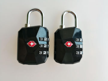 Fashion TSA Travel Locks / TSA Security Lock Black PC Material For Luggage Security